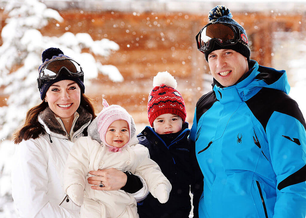 William and Kate with children in a snowy area