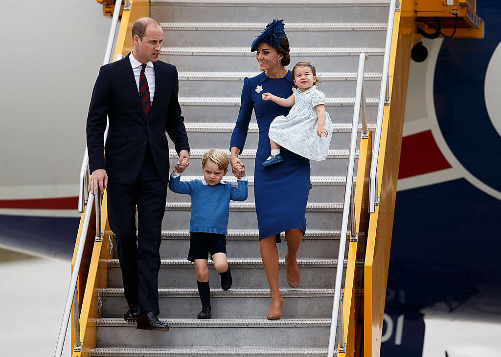 4 royals William Kate George baby daughter leave airplane