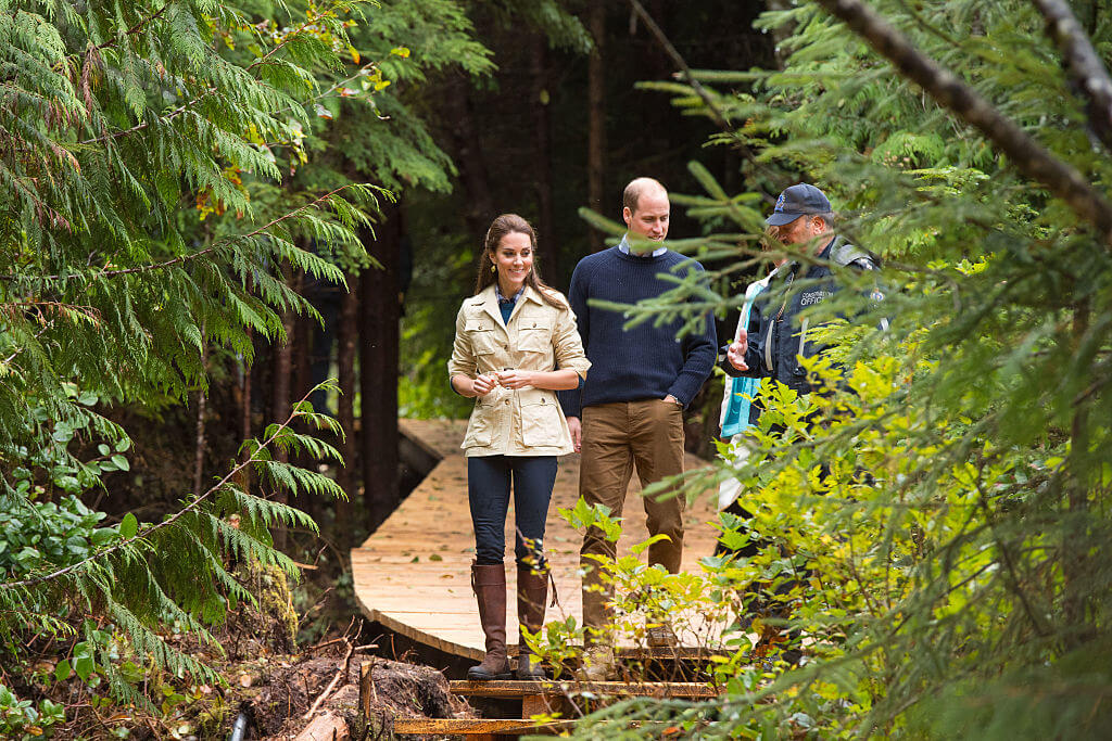 Kate and William hiking in forest