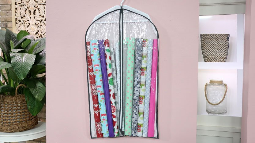 store wrapping paper in garment bags