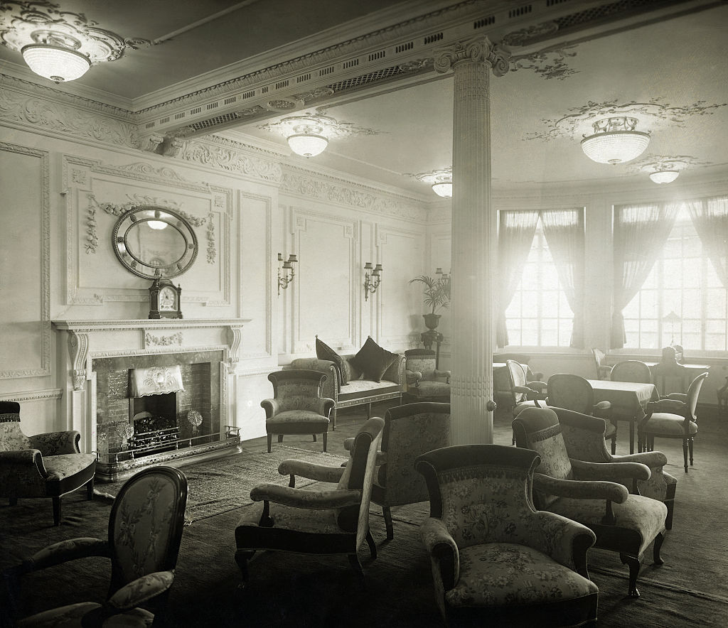 titanic reading room black and white
