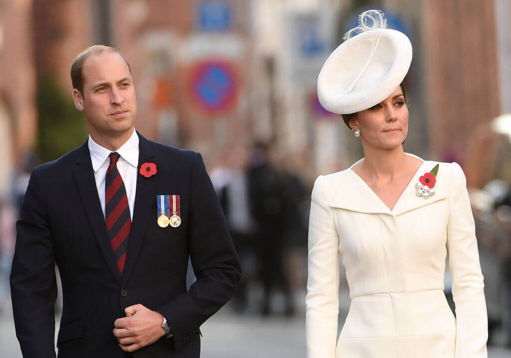 Kate-Middleton with Prince William looking proud and wearing poppies