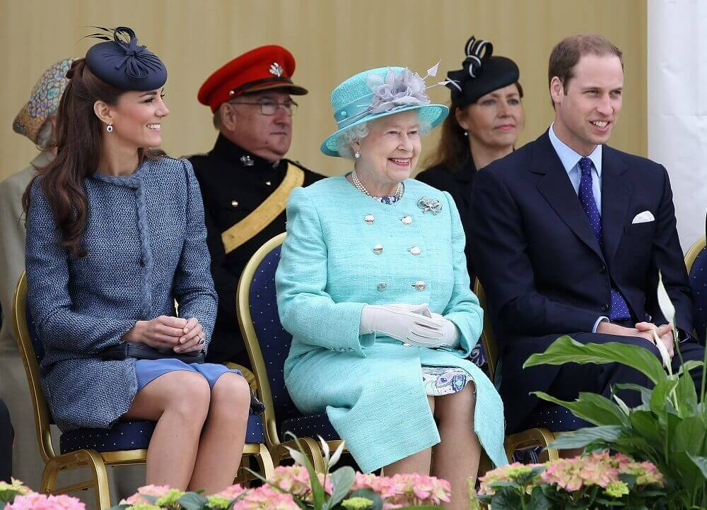 Kate sitting with Queen, William and others and the women are wearing hats