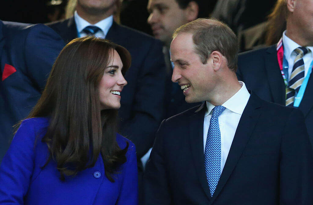 Kate-Middleton-loving look with Prince William surrounded by others