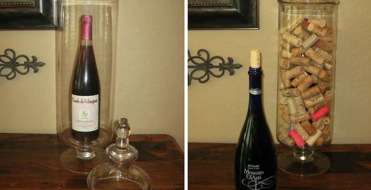 use empty wine bottle for decor hack
