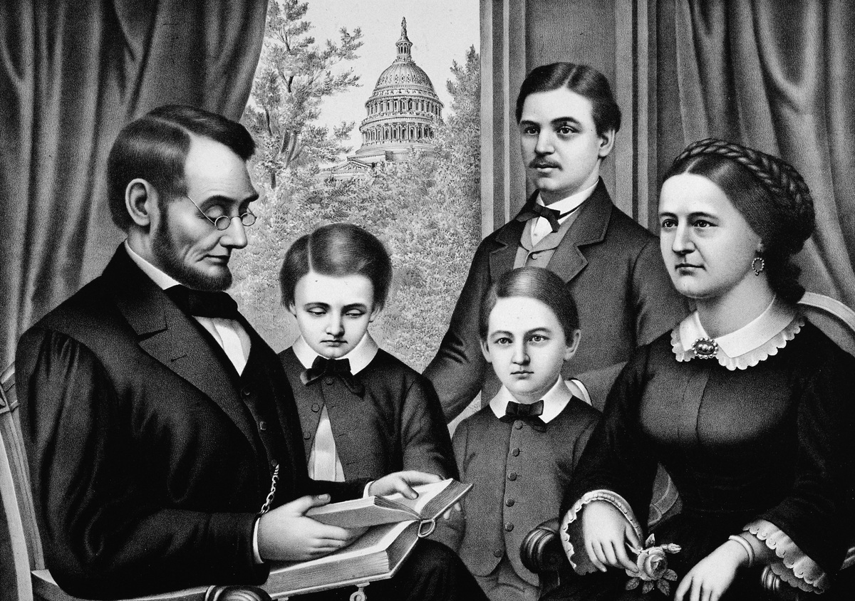 Abraham Lincoln, the sixteenth US President with his youngest son Thomas 'Tad', William 'Willie'',, his eldest son Robert, and the First Lady Mary Todd Lincoln.