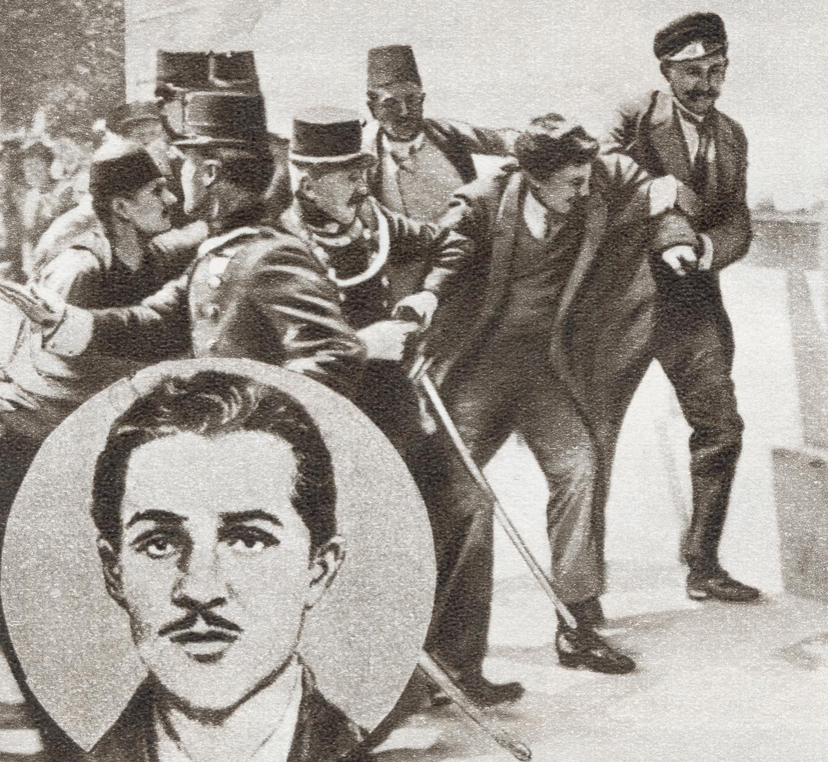 The police arresting Gavrilo Princip,  who assassinated Archduke Franz Ferdinand of Austria