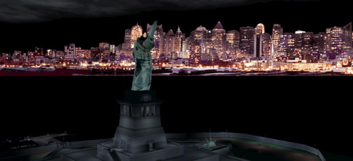 Skyline of New York City in the video game Deus Ex