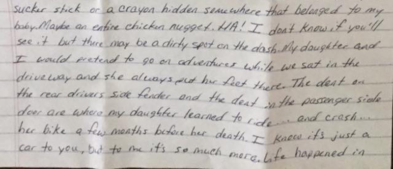 sabrina archey wrote the letter she left for the new car owner