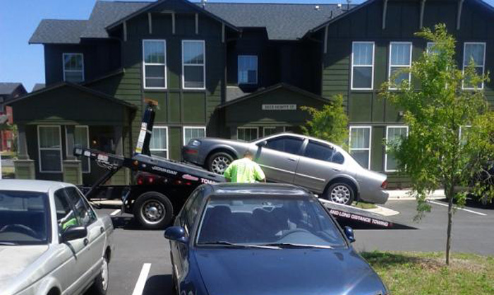 a car getting repossessed