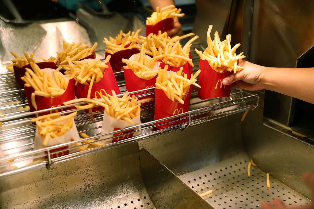 McDonald's crew member Samantha Medina prepares french fries