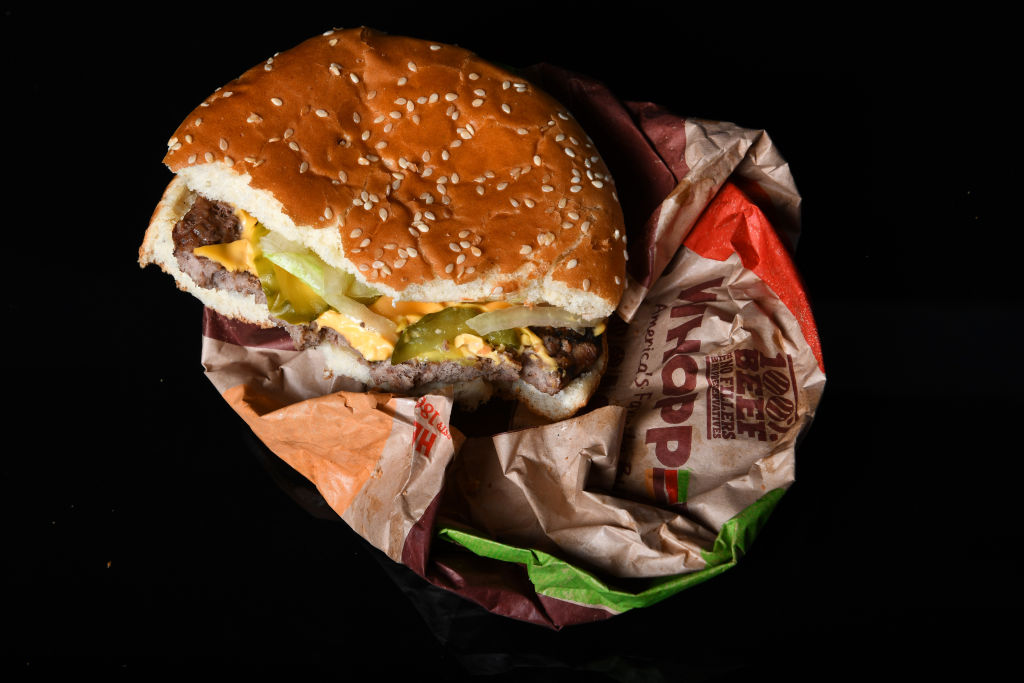 A Whopper from Burger King on wrapper