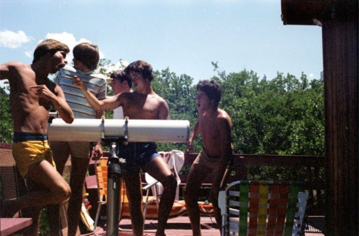 the five friends messing around in their cabin at Copco Lake