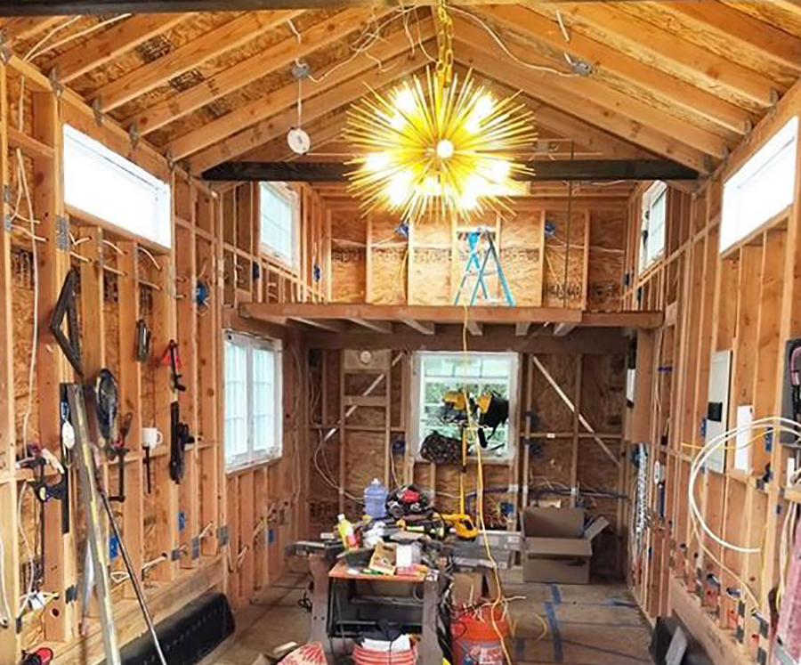 inside of tiny house while its still being built