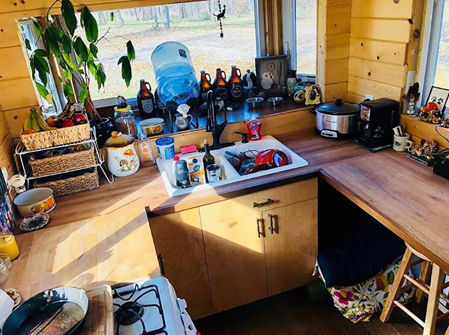 messy tiny house countertop