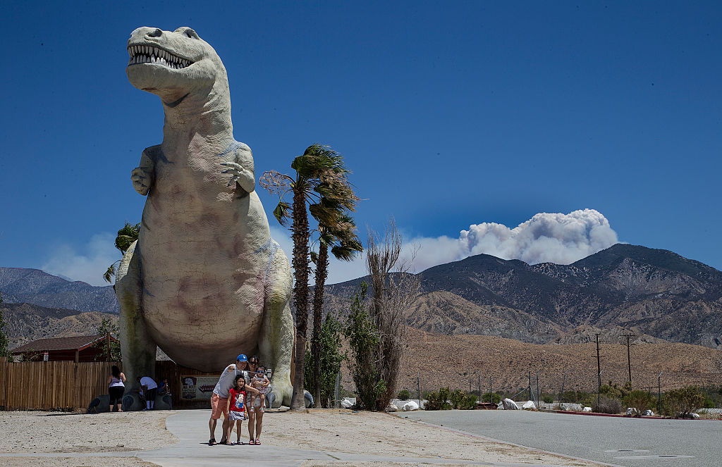 giant dinosaurs at a tourist attraction
