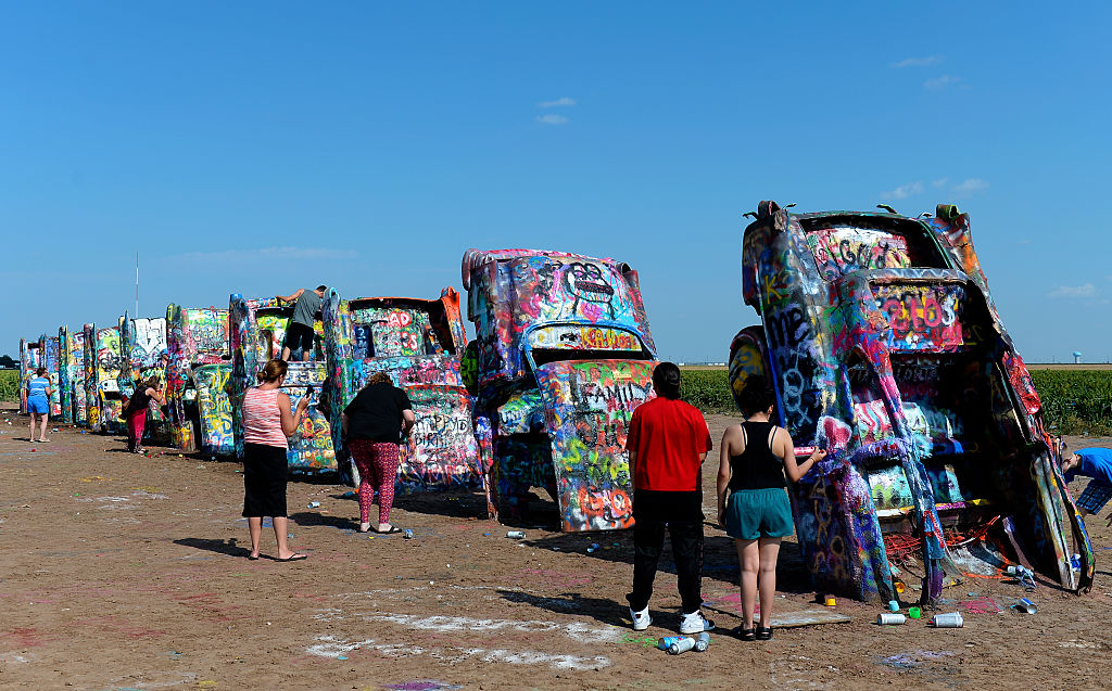 visitors at cadillac ranch