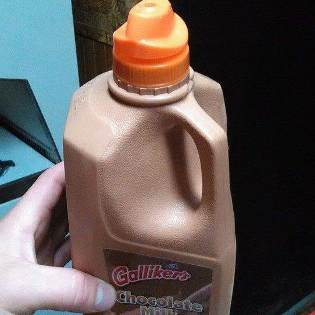 chocolate milk hack with gatorade lid