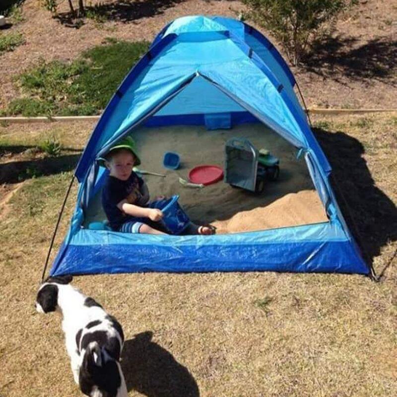 sandbox tent shaded