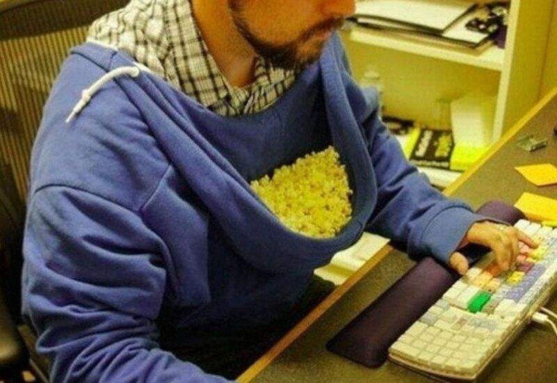 snack hack with popcorn hood