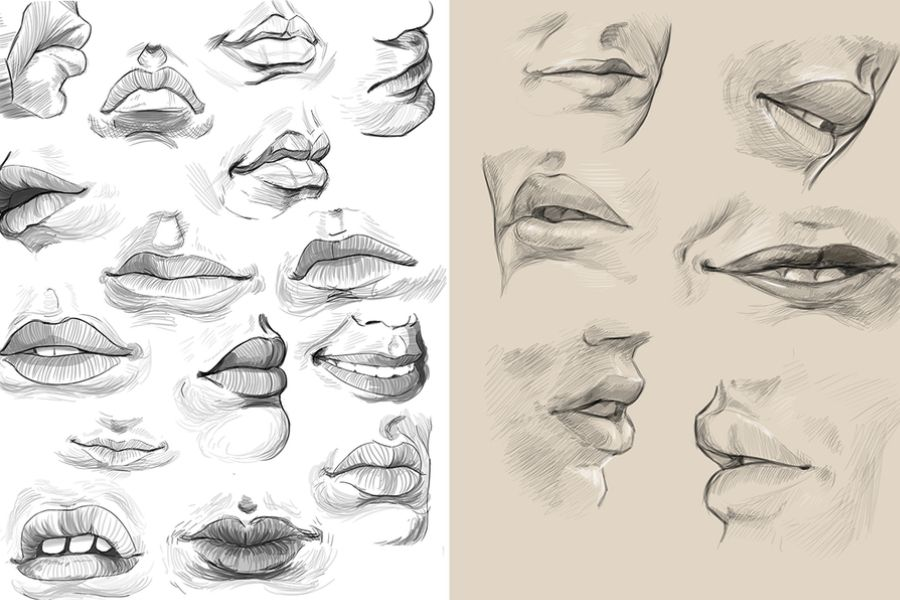 lots of mouths drawings