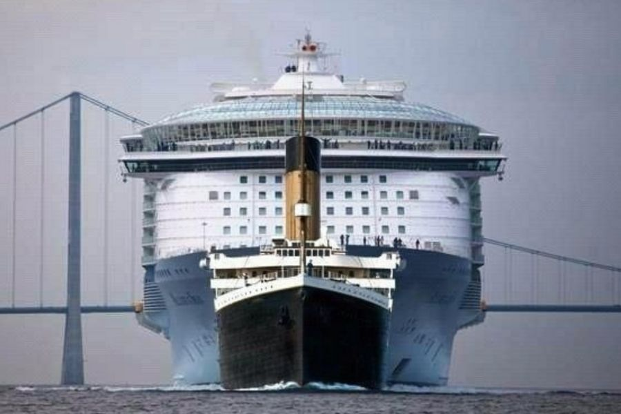 titanic in front of modern curise ship