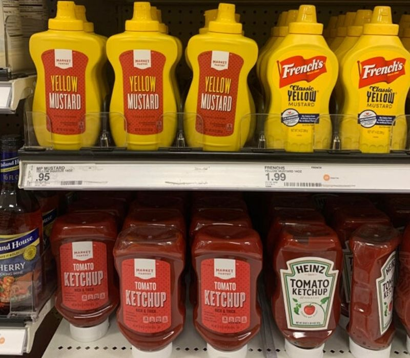 mustard and ketchup branded and unbranded