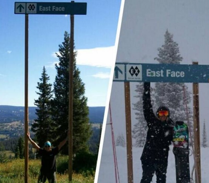 ski sign in the summer and the winter