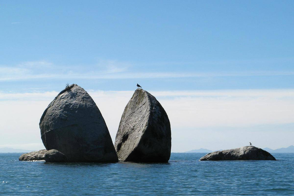 rock that appears to be split in half