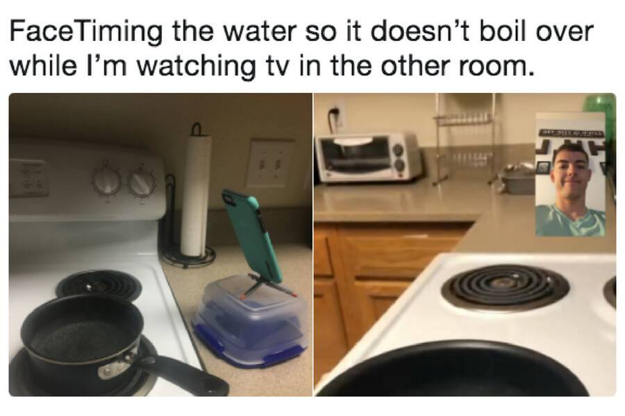 guy using phone to facetime boiling water