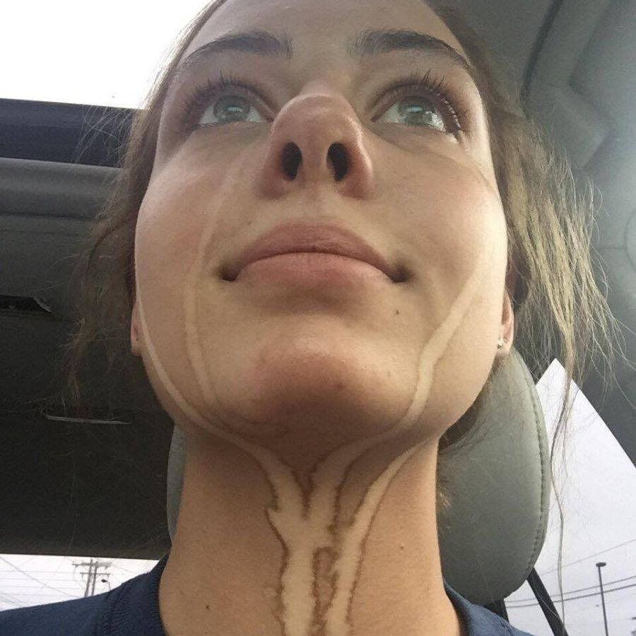 girl with tears that left marks on her spray tan