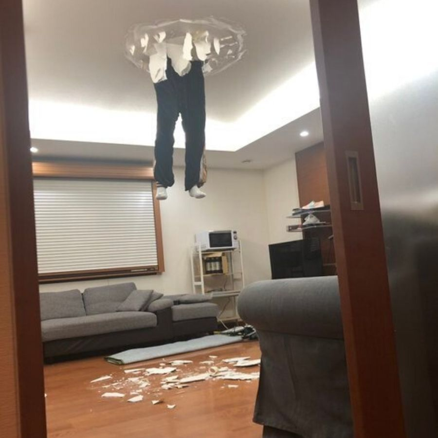 person through the ceiling