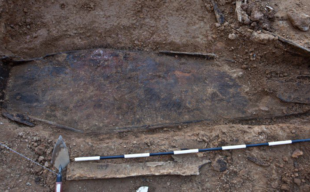 Unearthed coffin