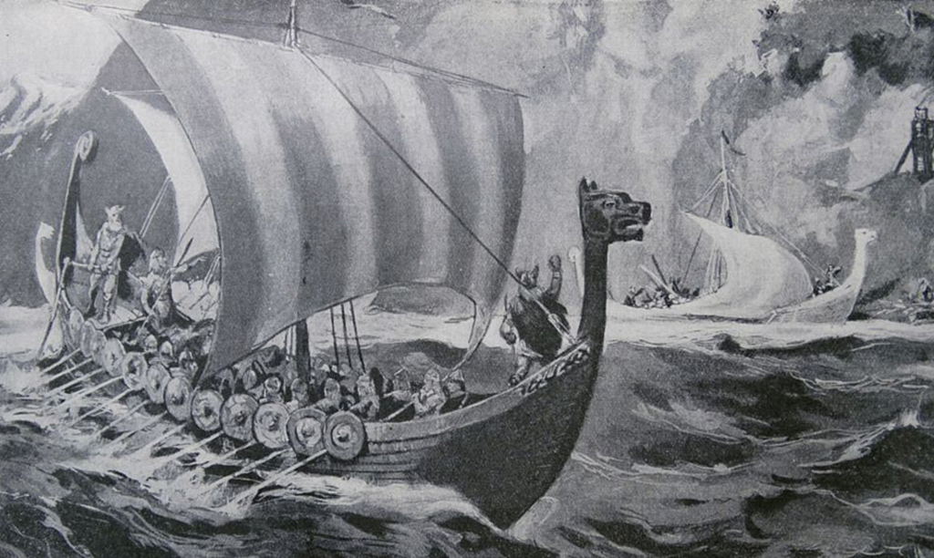 Vikings on their ships