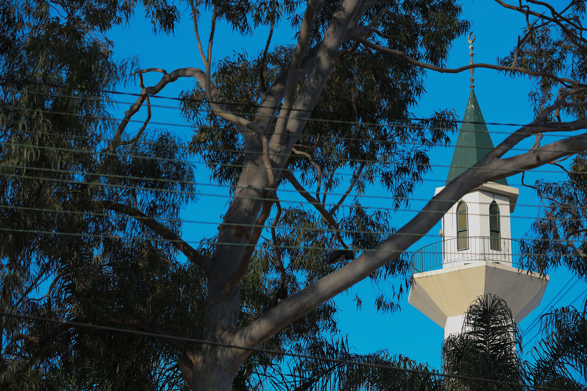 The minaret of the Lakemba Mosque photographed through Australian eucalyptus trees