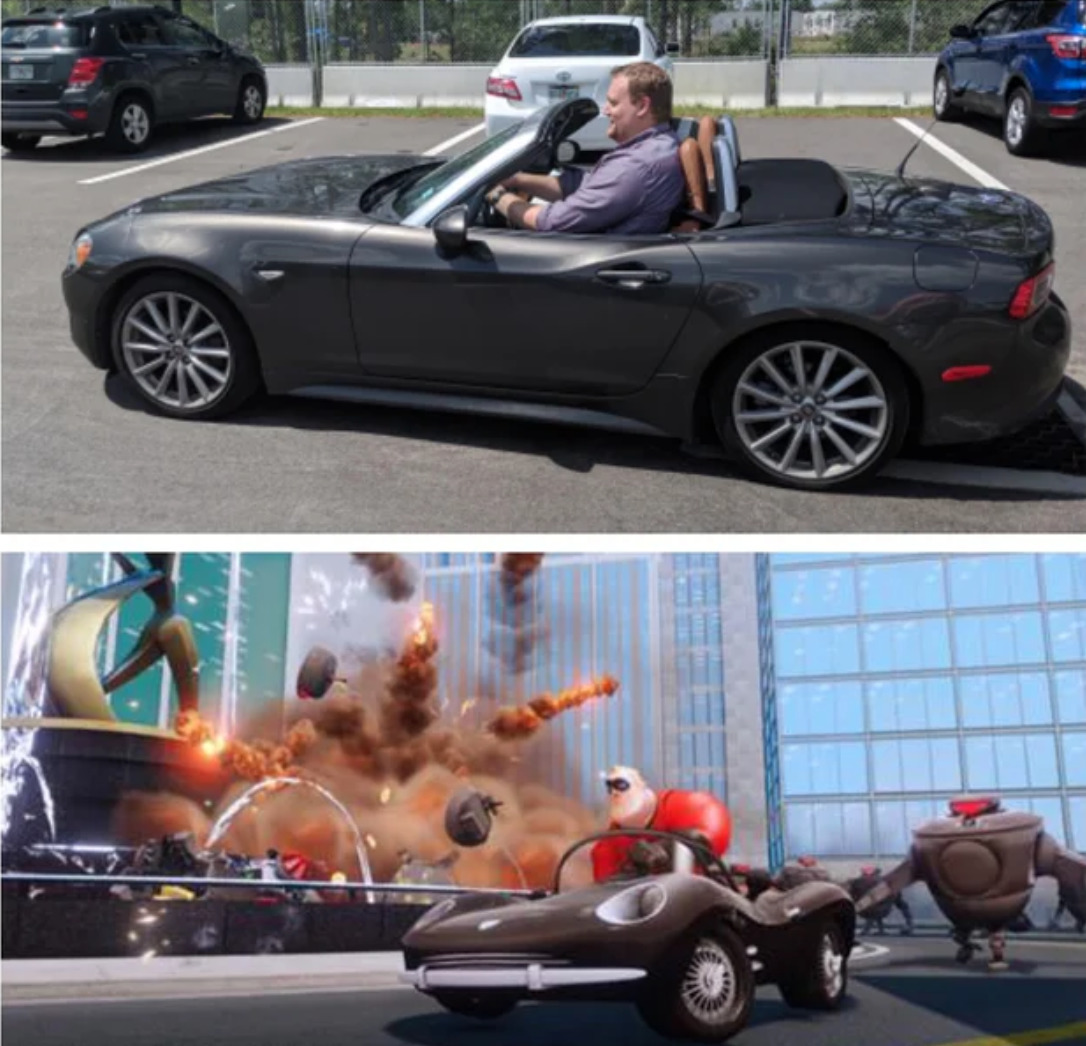 man sitting in convertible too small for him looks like cartoon Mr. Incredible
