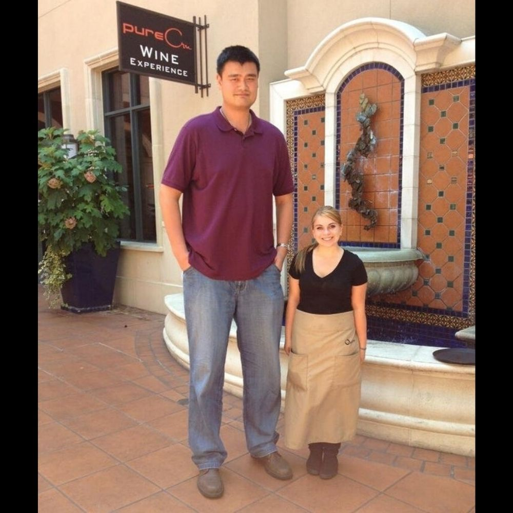 Yao Ming With Much Shorter Woman