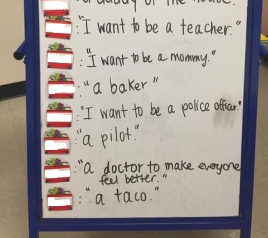 a sign with a list of things children want to be when they grow up
