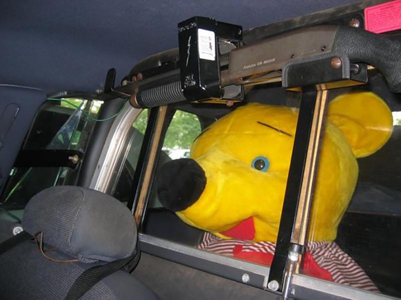 Winnie the Pooh sits in the back of a cop car.