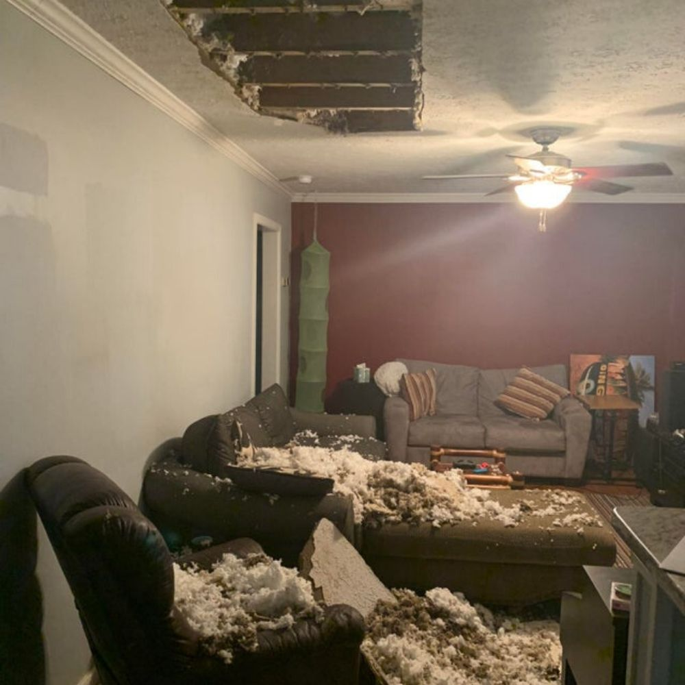 caved in ceiling that the landlord was warned about