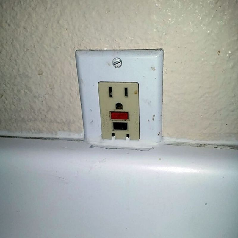 outlet covered half by counters