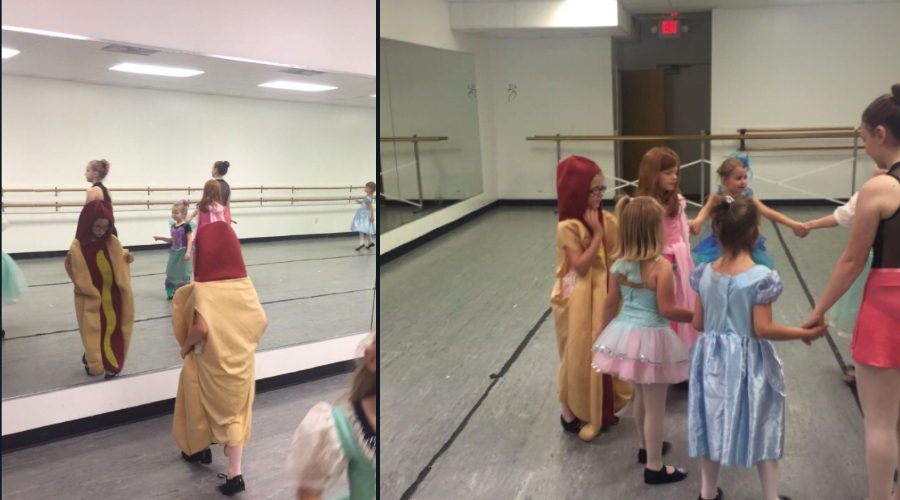 a kid dressed up as a hot dog on princess day