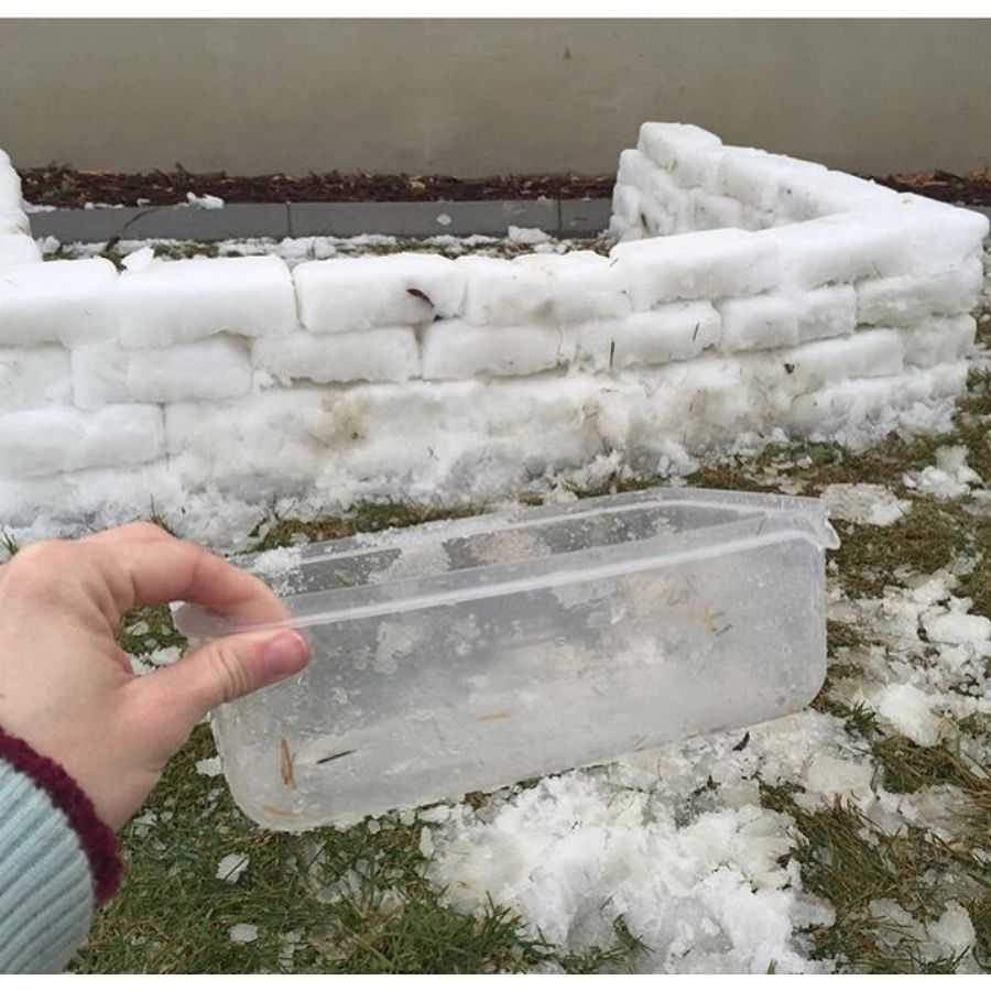 tupperware snow buillding hack