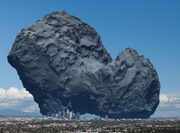 the rosetta comet CGI over the city of los angeles for scale