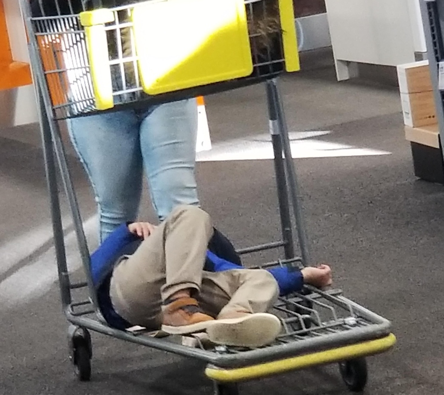 a kid passed out on the bottom of a shopping cart