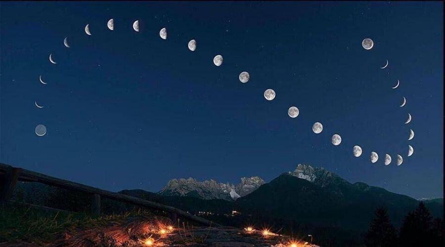 time lapse of the moon phases