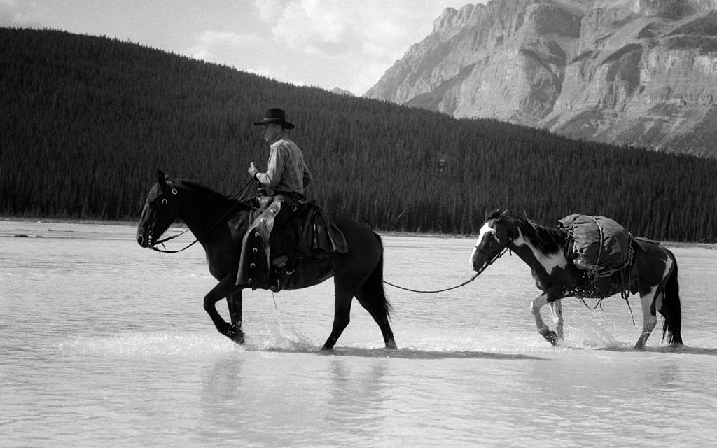 Cowboy riding his horse through water