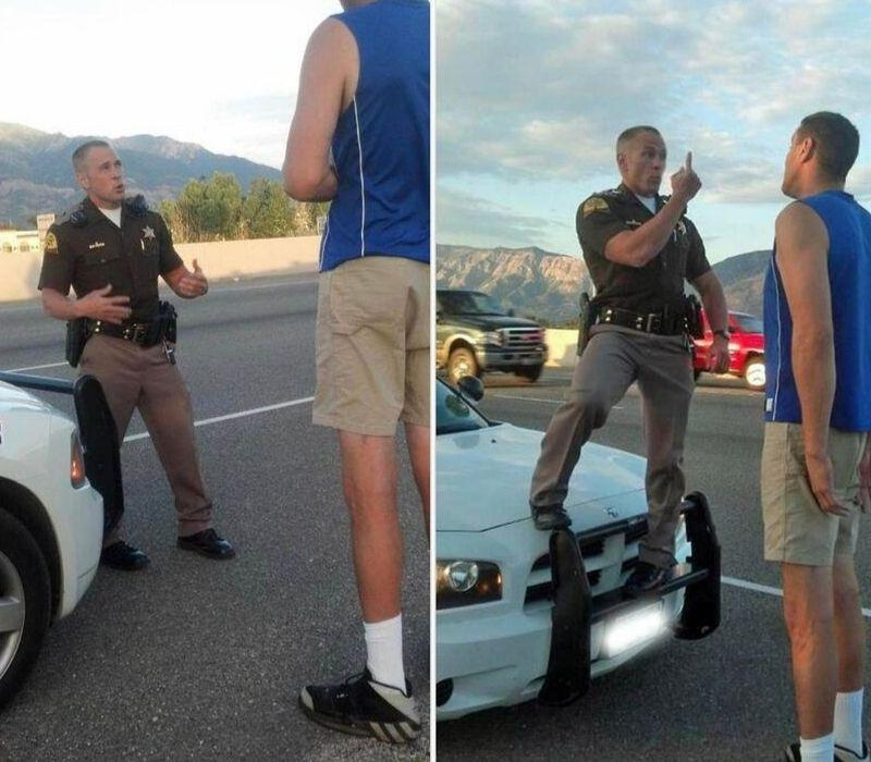 state trooper standing on car to give tall person sobriety test