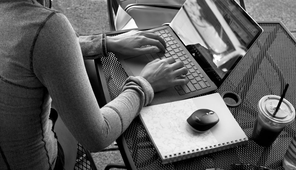 A woman uses her laptop computer