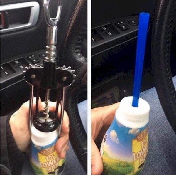 wine opener to poke hole in drink bottle
